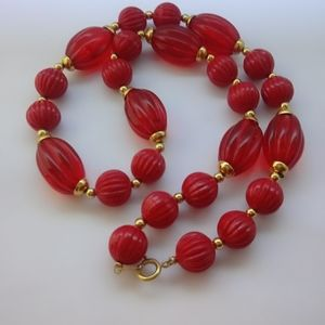 Vintage Signed Trifari Lucite Beaded Necklace